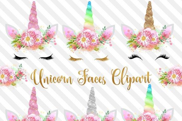 Unicorn Faces Clipart