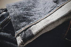 Folded Pair of Blue Jeans