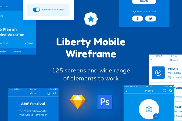 Wireframe Kits: Just UI - Liberty Mobile Wireframe Kit