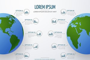 Vector infographic mockup with globe