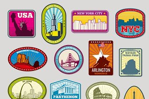 World famous monuments labels