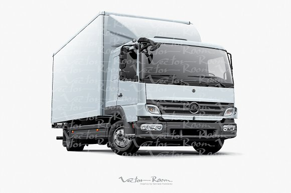 White European Delivery Truck