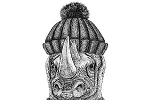 Rhinoceros, rhino wearing knitted hat and scarf