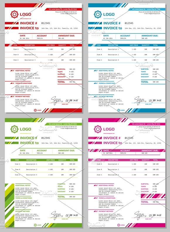 Invoice Vector Templates Set