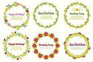 Floral frames and wreaths set