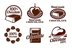 Chocolate logos, emblems and badges