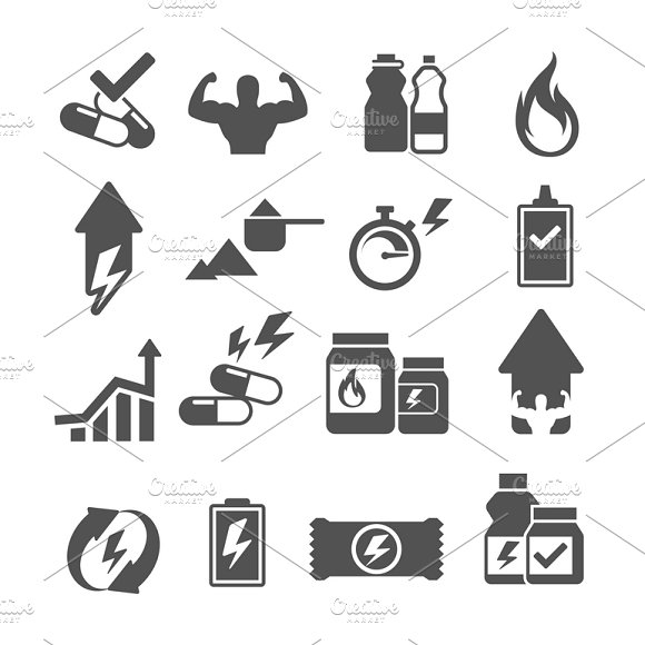 Sport Supplements Effects Icons