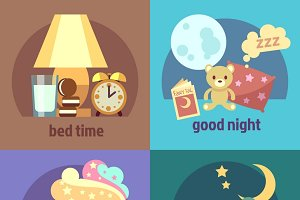 Sleep time concept backgrounds set