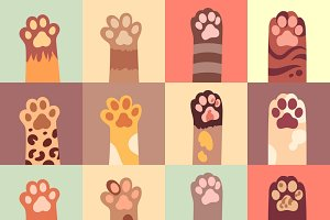 Cats paw flat icon set