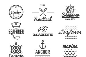 Nautical vector hipster logos
