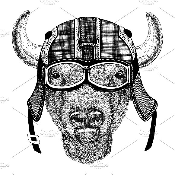 Buffalo Bison Ox Bull Wearing Motorcycle Helmet Aviator Helmet Illustration For T-shirt Patch Logo Badge Emblem Logotype Biker T-shirt With Wild Animal