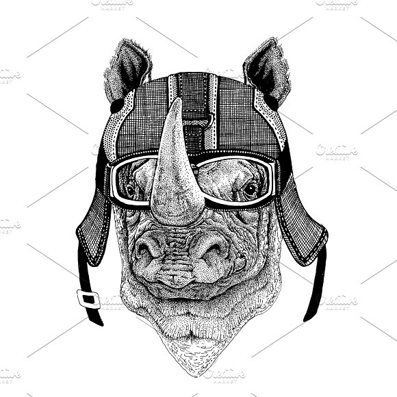 Rhinoceros Rhino Wearing Motorcycle Helmet Aviator Helmet Illustration For T-shirt Patch Logo Badge Emblem Logotype Biker T-shirt With Wild Animal