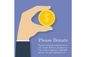 Gold dollar coin icon in man hand. Donation, giving money