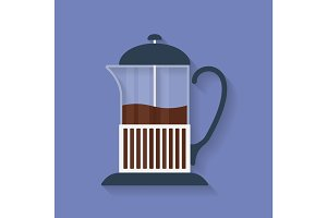 Teapot, French press with tea or coffee flat icon