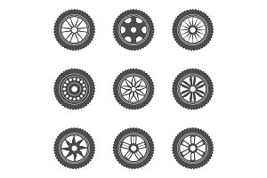 Set of car rims, tires