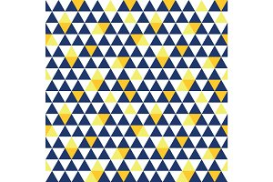 Vector navy blue and yellow triangle texture seamless repeat pattern background. Perfect for modern fabric, wallpaper, wrapping, stationery, home decor projects.
