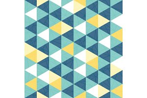 Vector blue and yellow triangle texture seamless repeat pattern background. Perfect for modern fabric, wallpaper, wrapping, stationery, home decor projects.