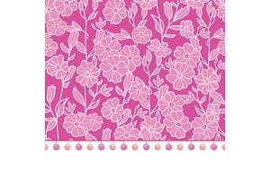 Vector pompom border trim on pink flowers seamless repeat pattern design background print. Perfect for clothing, fabric, home decor, wrapping projects.