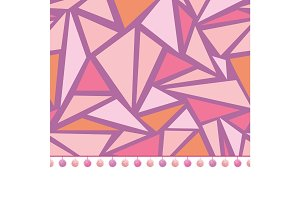Vector pompom border trim on pink triangles mosaic seamless repeat pattern design background print. Perfect for clothing, fabric, home decor, wrapping projects.