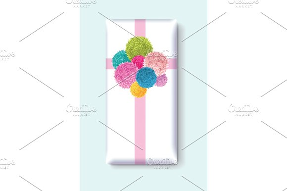 Vector Gift Box With A Bunch Of Colorful Baby Kids Birthday Party Pom Poms Element Great For Handmade Cards Invitations Wallpaper Packaging Nursery Designs