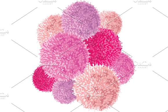 Vector Chunky Bunch Of Pink Baby Girl Birthday Party Pom Poms Element Great For Handmade Cards Invitations Wallpaper Packaging Nursery Designs