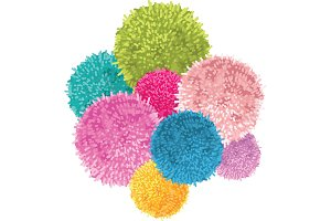 Vector Bunch of Colorful Baby Kids Birthday Party Pom Poms Element. Great for handmade cards, invitations, wallpaper, packaging, nursery designs.