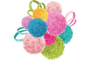 Vector Bunch of Colorful Baby Kids Birthday Party Pom Poms and Ribbons Element. Great for handmade cards, invitations, wallpaper, packaging, nursery designs.