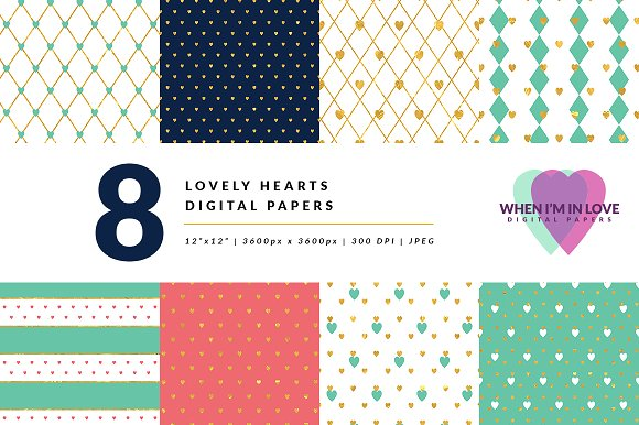 Digital Papers Lovely Hearts