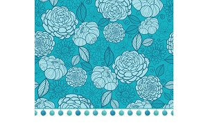 Vector pompom border trim on blue flowers seamless repeat pattern design background print. Perfect for clothing, fabric, home decor, wrapping projects.