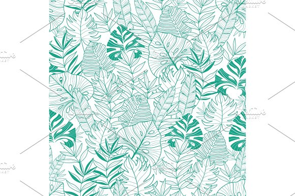 Vector Green Tropical Leaves Summer Hawaiian Seamless Pattern With Tropical Green Plants And Leaves On Navy Blue Background Great For Vacation Themed Fabric Wallpaper Packaging