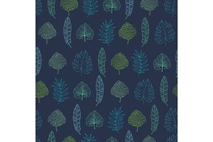 Vector navy blue geometrical tropical summer hawaiian seamless pattern with tropical green plants and leaves on dark background. Great for vacation themed fabric, wallpaper, packaging.