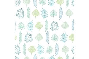 Vector light green and blue geometrical tropical summer hawaiian seamless pattern with tropical green plants and leaves on dark background. Great for vacation themed fabric, wallpaper, packaging.