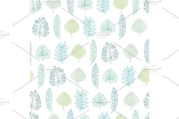Vector Light Green And Blue Geometrical Tropical Summer Hawaiian Seamless Pattern With Tropical Green Plants And Leaves On Dark Background Great For Vacation Themed Fabric Wallpaper Packaging