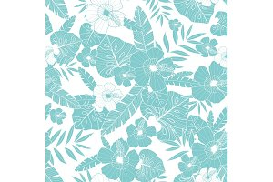 Vector light blue drawing tropical summer hawaiian seamless pattern with tropical plants, leaves, and hibiscus flowers. Great for vacation themed fabric, wallpaper, packaging.