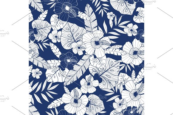 Vector Blue Drawing Tropical Summer Hawaiian Seamless Pattern With Tropical Plants Leaves And Hibiscus Flowers Great For Vacation Themed Fabric Wallpaper Packaging