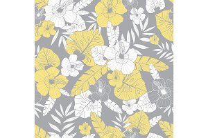 Vector light yellow and grey drawing tropical summer hawaiian seamless pattern with tropical plants, leaves, and hibiscus flowers. Great for vacation themed fabric, wallpaper, packaging.