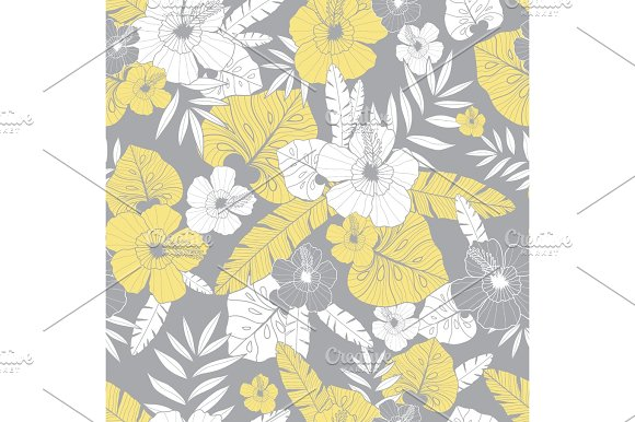 Vector Light Yellow And Grey Drawing Tropical Summer Hawaiian Seamless Pattern With Tropical Plants Leaves And Hibiscus Flowers Great For Vacation Themed Fabric Wallpaper Packaging