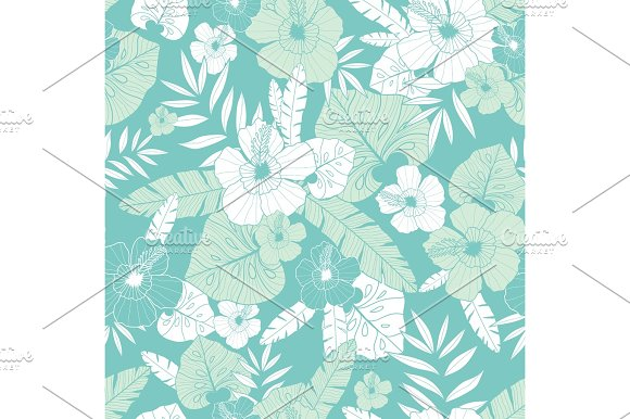 Vector Light Green And Blue Tropical Summer Hawaiian Seamless Pattern With Tropical Plants Leaves And Hibiscus Flowers Great For Vacation Themed Fabric Wallpaper Packaging