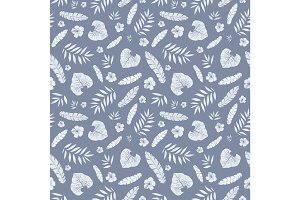 Vector dark grey tropical summer hawaiian seamless pattern with tropical plants, leaves, and hibiscus flowers on white background. Great for vacation themed fabric, wallpaper, packaging.