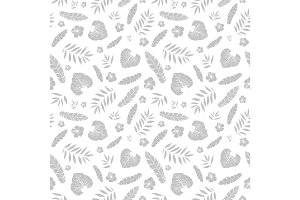 Vector silver grey tropical summer hawaiian seamless pattern with tropical plants, leaves, and hibiscus flowers on white background. Great for vacation themed fabric, wallpaper, packaging.