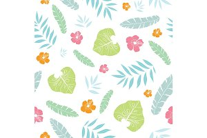 Vector fun tropical summer hawaiian seamless pattern with tropical plants, leaves, and hibiscus flowers on white background. Great for vacation themed fabric, wallpaper, packaging.