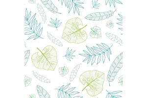 Vector tropical drawing summer hawaiian seamless pattern with tropical green plants and leaves on navy blue background. Great for vacation themed fabric, wallpaper, packaging.
