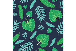 Vector dark tropical summer hawaiian seamless pattern with tropical green plants and leaves on navy blue background. Great for vacation themed fabric, wallpaper, packaging.