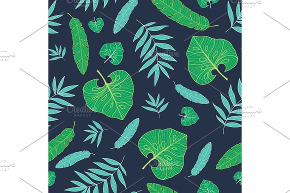 Vector Dark Tropical Summer Hawaiian Seamless Pattern With Tropical Green Plants And Leaves On Navy Blue Background Great For Vacation Themed Fabric Wallpaper Packaging