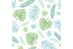 Vector pastel tropical drawing summer hawaiian seamless pattern with tropical green plants and leaves on navy blue background. Great for vacation themed fabric, wallpaper, packaging.