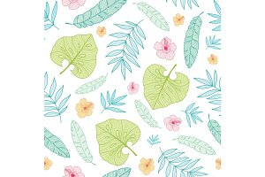 Vector light tropical summer hawaiian seamless pattern with tropical plants, leaves, and hibiscus flowers on white background. Great for vacation themed fabric, wallpaper, packaging.