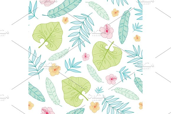 Vector Light Tropical Summer Hawaiian Seamless Pattern With Tropical Plants Leaves And Hibiscus Flowers On White Background Great For Vacation Themed Fabric Wallpaper Packaging