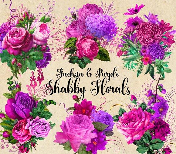 Fuchsia And Purple Shabby Florals
