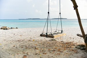 Swing hanging on the beach