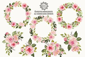 Watercolor English Roses wreaths